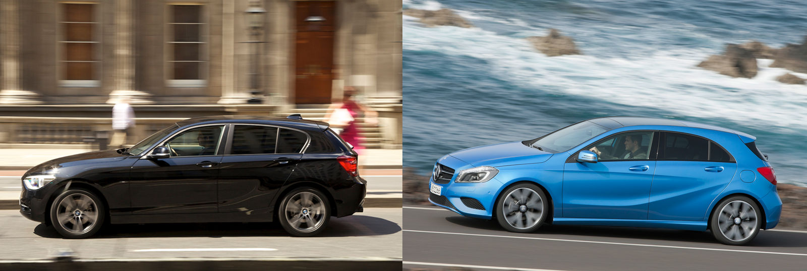 mercedes a class vs bmw 1 series head to head uk comparison carwow. Black Bedroom Furniture Sets. Home Design Ideas