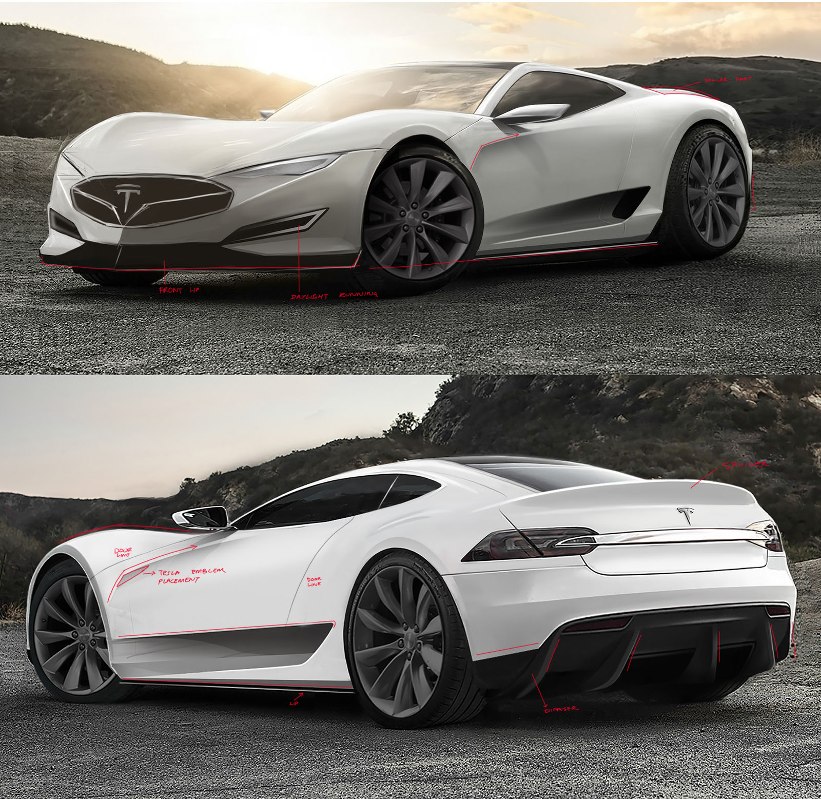 2016 tesla model r hypercar concept  design sketches