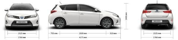 Toyota Auris dimensions UK exterior and interior sizes carwow