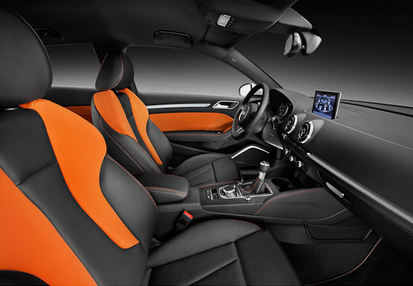 Orange and black leather interior