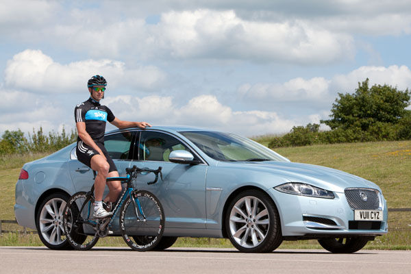 Cyclist and Jaguar
