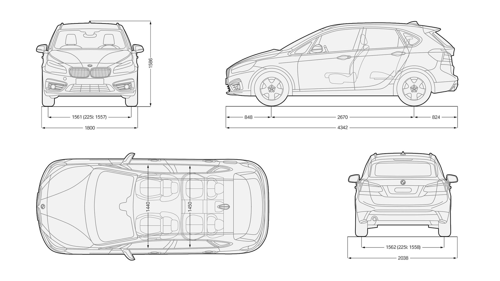 Bmw 2 series active tourer sizes and dimensions carwow - Layouts hoogte ...
