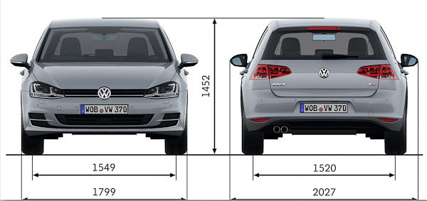 Golf front and rear dimensions